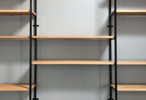 Custom built office shelving system closeup