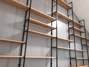 Custom built office shelving system