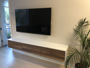 Custom floating entertainment console