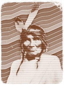 Graphic design of Native American in front of wavy lines