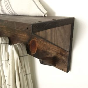 Towel rack with towels hanging