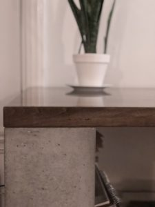 Concrete desk leg and top detail