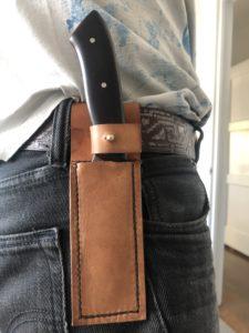 Knife sheath worn on belt