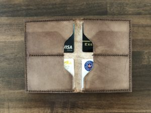 Leather wallet interior with cards