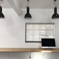 Work stations with computer and lights